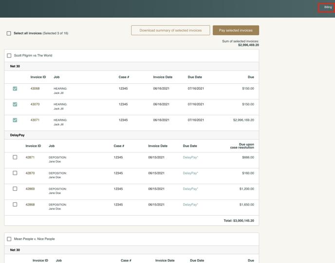 Screenshot of firm dashboard