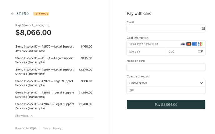 Screenshot of invoices to be paid on Stripe